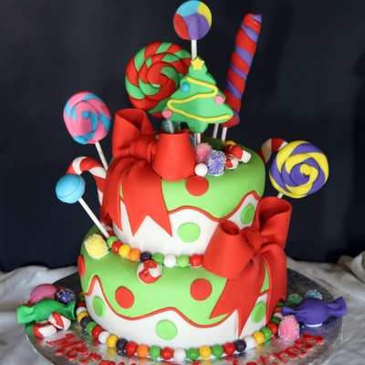 Holly Jolly Christmas Candy Cake