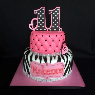 Girly Girl Cake Fondant Over Buttercream Gumpaste Numbers I Used Glitter On Name And Rhinestone Ribbon Borders Because She Wanted It Spa