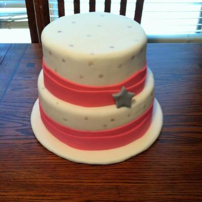 Silver Star Bridal Shower Cake
