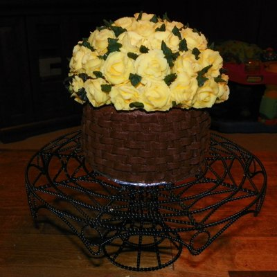 Basketweave Mother's Day Cake With Roses