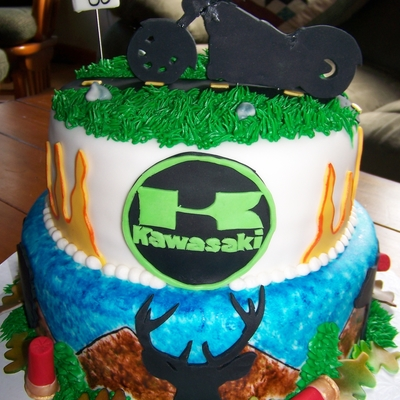 Hunting And Motorcycle Themed Cake