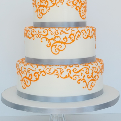 Orange And Grey Wedding Cake
