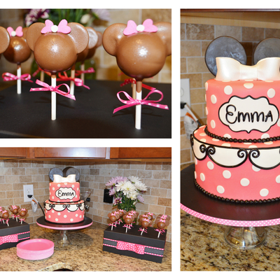 Pink Minnie Mouse Cake And Cake Pops