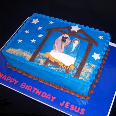 Happy Birthday Jesus 2 Layer Wasc With Raspberry Filling Butter Cream Icing And Mff 2 D Figures And Deco Graham Cracker Sand Inspirat