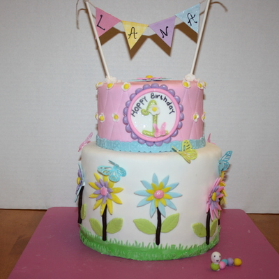 Flower And Butterflies Birthday Cake
