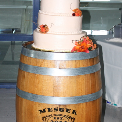 Wedding Cake On Wiskey Barrel