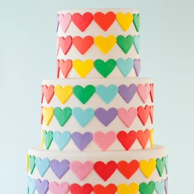 Rainbow Heart Wedding Cake