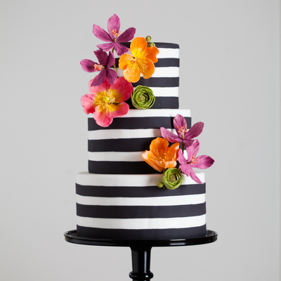 Black And White Stripes With Bright Sugar Flowers