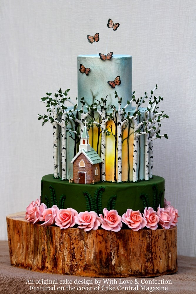 Birch Tree Cake Featured On The Cover Of Cake Central Magazine!