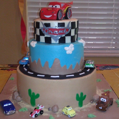 Grant's Cars Cake 4Th Birthday