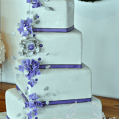 Purple & Silver Wedding Cake