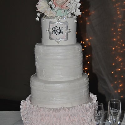 Brides Cake 12 10 8 6 Ruffles Pleats Monogram Gumpaste Flowers