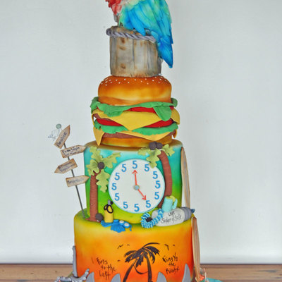 Jimmy Buffet Grooms Cake Parrot Is Made From Rkt All Edible Materials Cake Measured 40 In Height