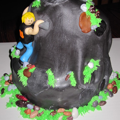 Rock Climbing Cake For 18Th Birthday Is Double Layer 8 With Triple Layer 6 Angled Like A Topsy Turvy And Set Off Center On Bottom Layer