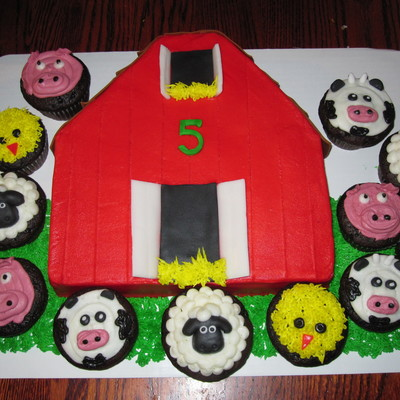 Barn Cut From A 10 Square Covered With Buttercream With Fondant Shingles And Doorwindow Openings Doors And Shingles Are Airhead Candies