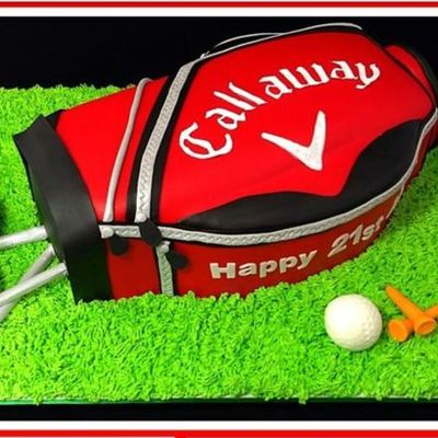 This Golf Bag Cake Was Modelled On The Birthday Boys I Used Jaffa Mud And Everything Was Edible Except For Skewers That Made The Club Sha