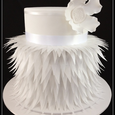 Beautiful Wedding Cake Made From Rice Paper Feathers.