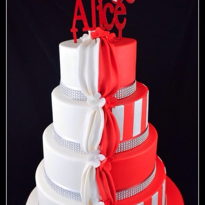 Half And Half White And Red Wedding Cake