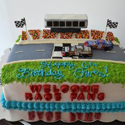 Inspired By Ginger 75833 Nascar Cake For A 6 Year Old Boy Birthday Party He Really Wanted The Actual Cars On Top So His Mom Kindly Brought