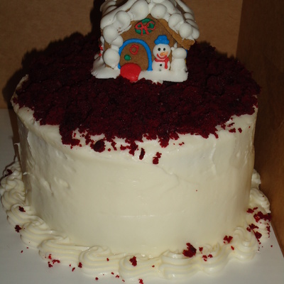 Red Velvet Christmas Cake With Cake Crumbles And A Cookie Gingerbread Topper