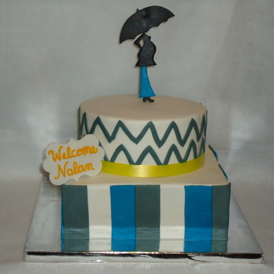 Blue And Gray Baby Shower Cake