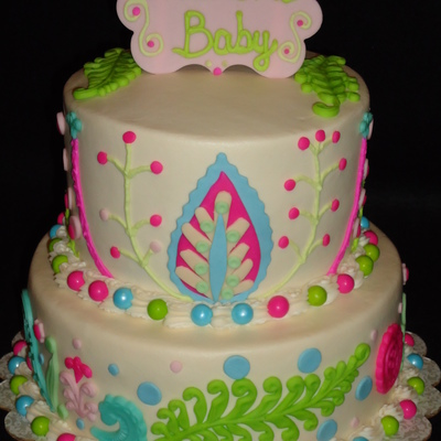 Vintage Baby Shower Cake Mixture Of Fondant And Buttercream Designs