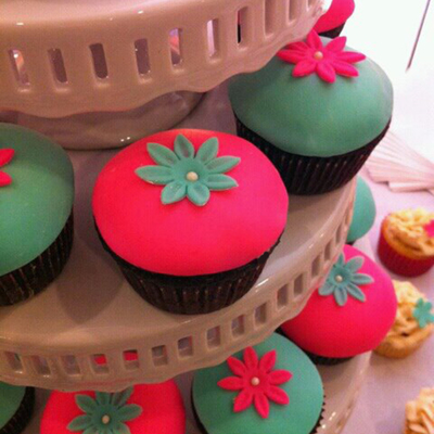 Pink & Turquoise Cupcakes