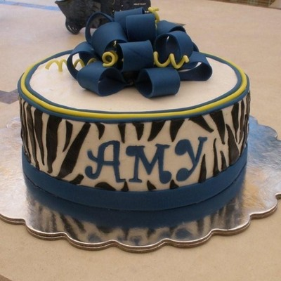 Zebra, Blue And Yellow Graduation Cake