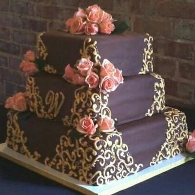 Brown Wedding Cake W/ Gold Scroll