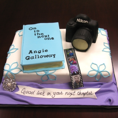 Going Away Book And Camera Cake