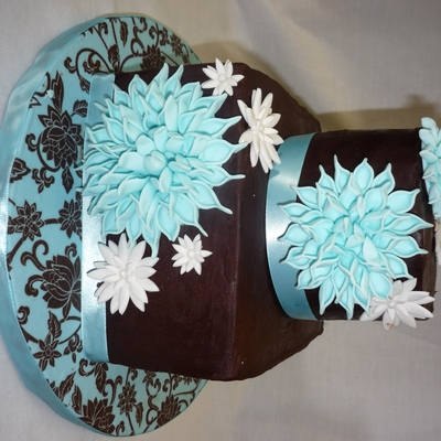Vintage Style Bridal Shower In Blue & Brown on Cake Central