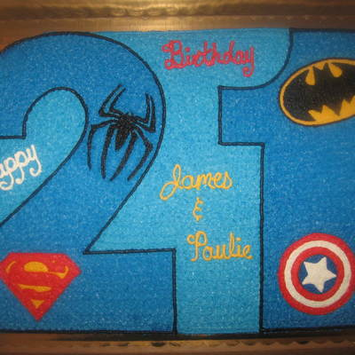 Number 21 Cakesuper Hero Theme Spidermanbatmancaptain America And Superman