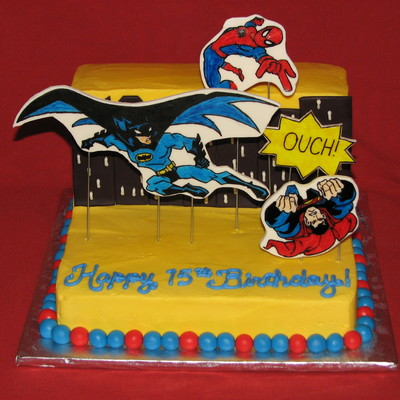 Didnt Turn Out As I Planned In My Head But The Customer Loved It The Theme Is Batman And Spiderman Beat Superman Apparently A Theater
