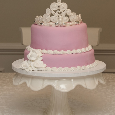 Pink Cake With White Tiara And Roses