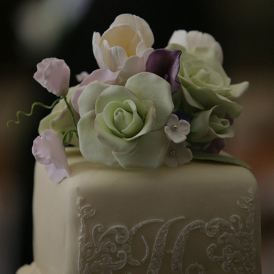 Wedding Cake W Sugar Flowers And Stenciling on Cake Central