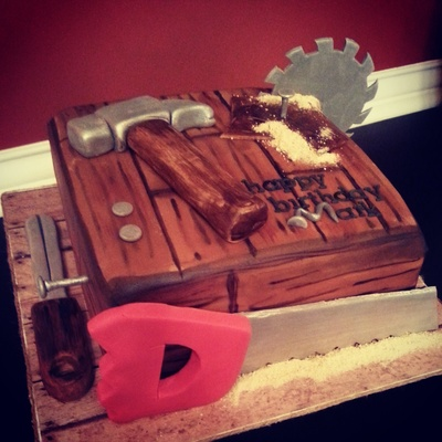 Birthday For A Carpenter Or Wood Worker Hand Painted Fondant With Fondant Tools