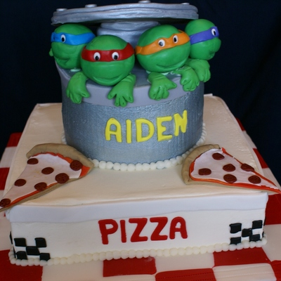 Ninja Turtle Pizza Box Cake