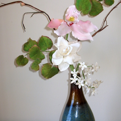 Gumpaste Beetleweed Leaves Gardenias And Pink Cymbidium Orchid Find Me On Shailes Edible Art On Facebook