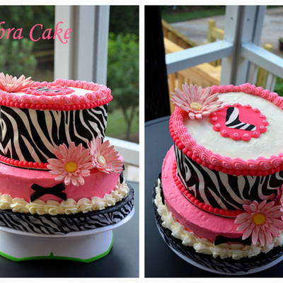 Zebra Print Cake With Hot Pink Accents
