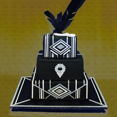 An Art Deco Themed 50Th Birthday Cake For A Gatsby Style Celebration Chocolate And White Chocolate Mud Cake With Air Brushed Fondant Icing...