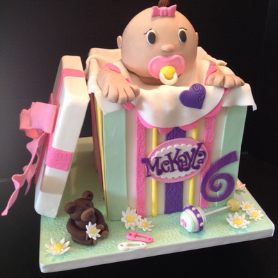 A Baby Doll In A Box For A Little Girl That Loves Her Dolls I Used The Bear In A Box Cake For Inspiration All Fondant Head Is Rice Krisp on Cake Central