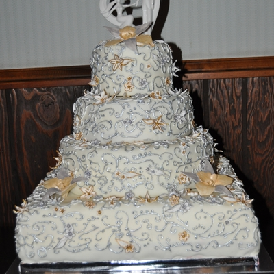 Gold And Silver Filigree Wedding Cake