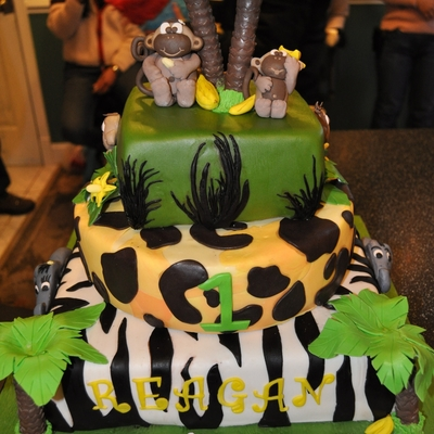 Jungle/monkey Themed 3 Tiered 1St Birthday Cake