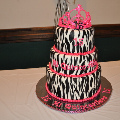 Hot Pink And Zebra Striped Cake With A Tiara On Top!