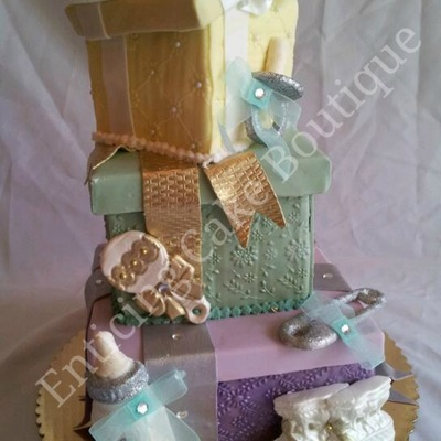 3D Baby Shower Gift Box Fondant Cake Textured Fondant Bling Baby Bottle Baby Rattle Baby Booties Baby Pin Baby Pacifier
