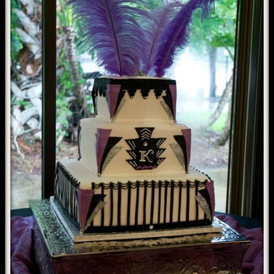 Art Deco Square Buttercream Wedding Cake With Fondant Bling And Feathers