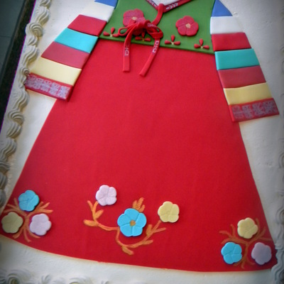 Korean Themed 1St Birthday With A Replica Of The Birthday Girls Korean Dress Hanbok On The Cake Cake Is Fudge Marble With Chocolate Mous