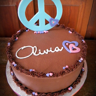 Birthday Cake For My Lovely Niece Miss Liv She Wanted A Light Blue Peace Sign Pink Amp Purple Hearts And Her Name In Cursive Fo