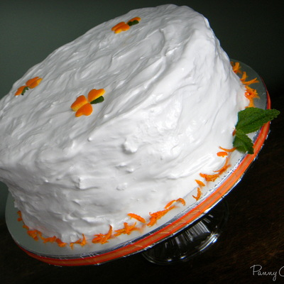 My Moms Beloved Orange Birthday Cake As She Always Had Growing Up With Applesauce Filling And 7 Minute Frosting I Decided To Add Some