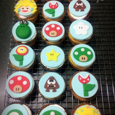 Super Mario Brothers Cake Is Dark Chocolate Fudge With Peanut Butter Filling And Buttercream Icing Cupcakes Are Fudge Marble With Butterc